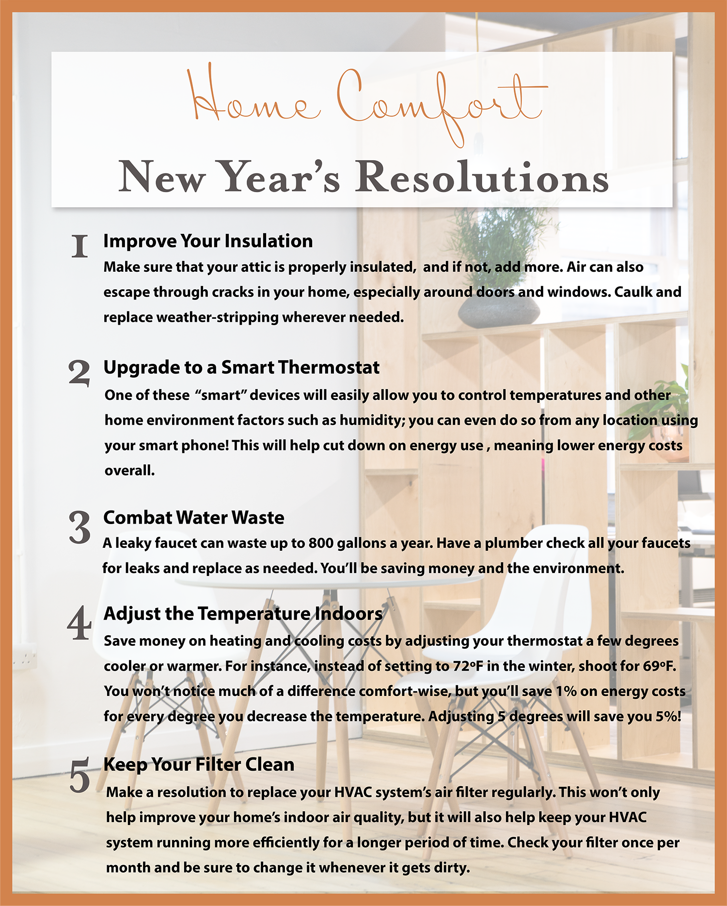 Home Comfort Resolutions